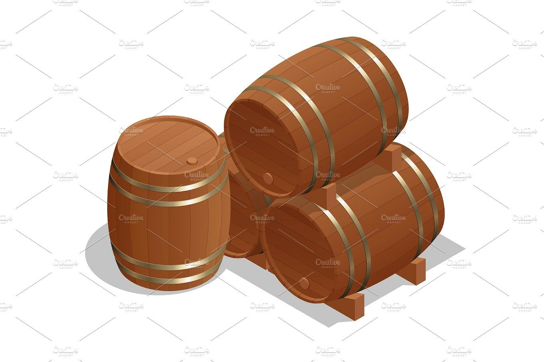 Isometric Wine Barrels Isolated On White Background Vector Illustration Barrel Wood Wine Barrel Isometric White Background
