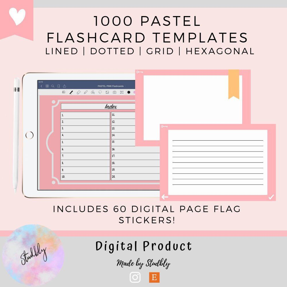 1000x Digital Flashcards Ultimate Template Set Pdf Lined Etsy Digital Sticker Flashcards Study Flashcards