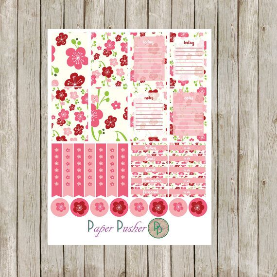 Cherry Blossom Planner Stickers - Planner Stickers - Happy Planner Stickers - ECLP Stickers - Plum Paper Stickers - Filo Fax Planner