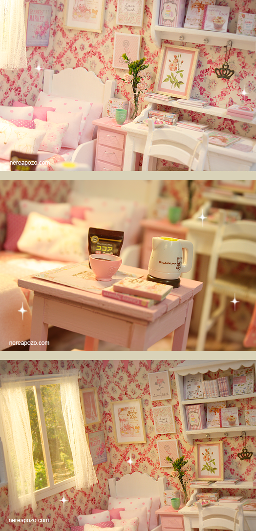 ♥ Handmade miniature diorama PINK PARADISE BEDROOM ♥ Is in 1/6 scale , perfect for Blythe, Pulllip , Monster High ,Barbie , Momoko, et...