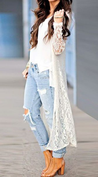 5bc9a6423 White Lace Cardigan - Semi-Sheer All Over | casual outfits | Fashion ...