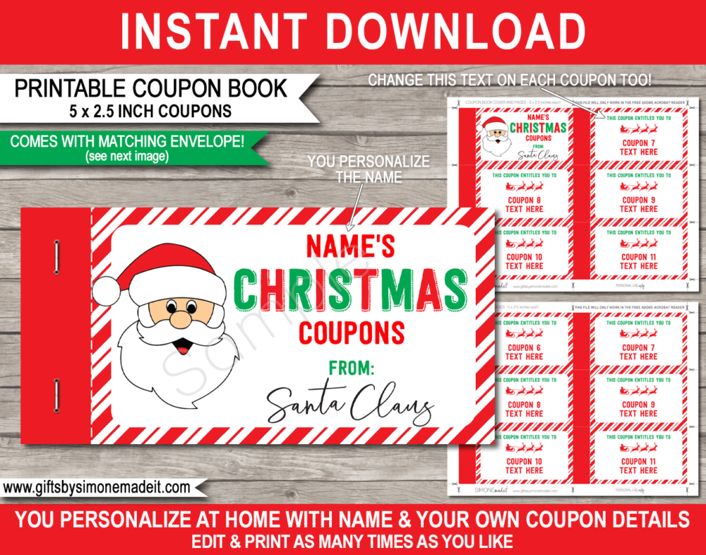 Coupon Book From Santa Template Printable Personalized Christmas Gift Coupon Book Printable Coupon Book Santa Template