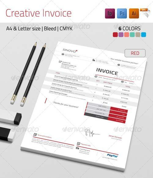 GraphicRiver Creative Invoice DESIGN l Docs l Prints Pinterest - graphic design invoice sample