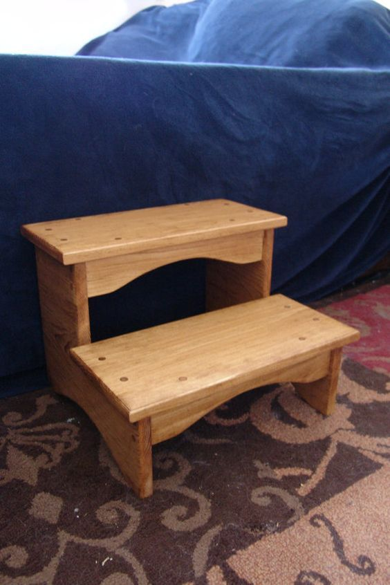 Handcrafted Heavy Duty Step Stool Wooden Adult Bedside Bedroom Kitchen Kids Bathroom 16 W 12 H