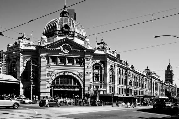 Flinders street station melbourne cbd architecture victoria australia black and white art photograph print