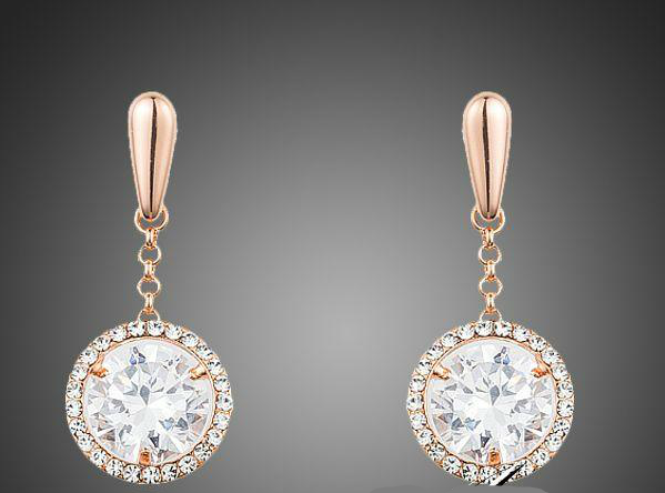 Rose Gold Clear Round Drop Earrings