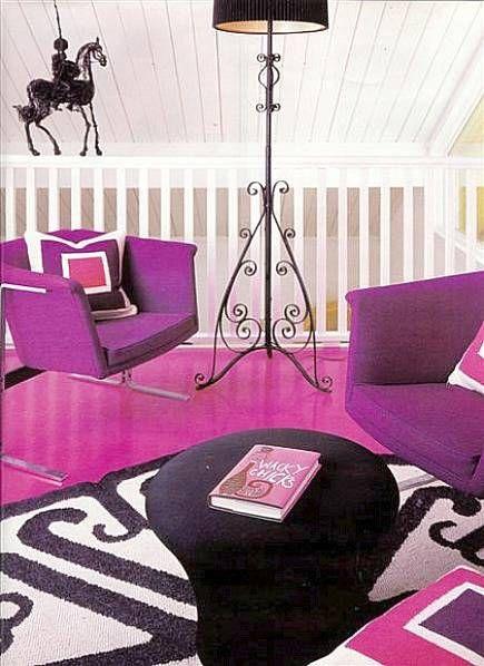 Okay, so this is post-mid-century-modern (after 1965), but still faboo! Vintage purple Pierre Cardin chairs on fuchsia flooring.