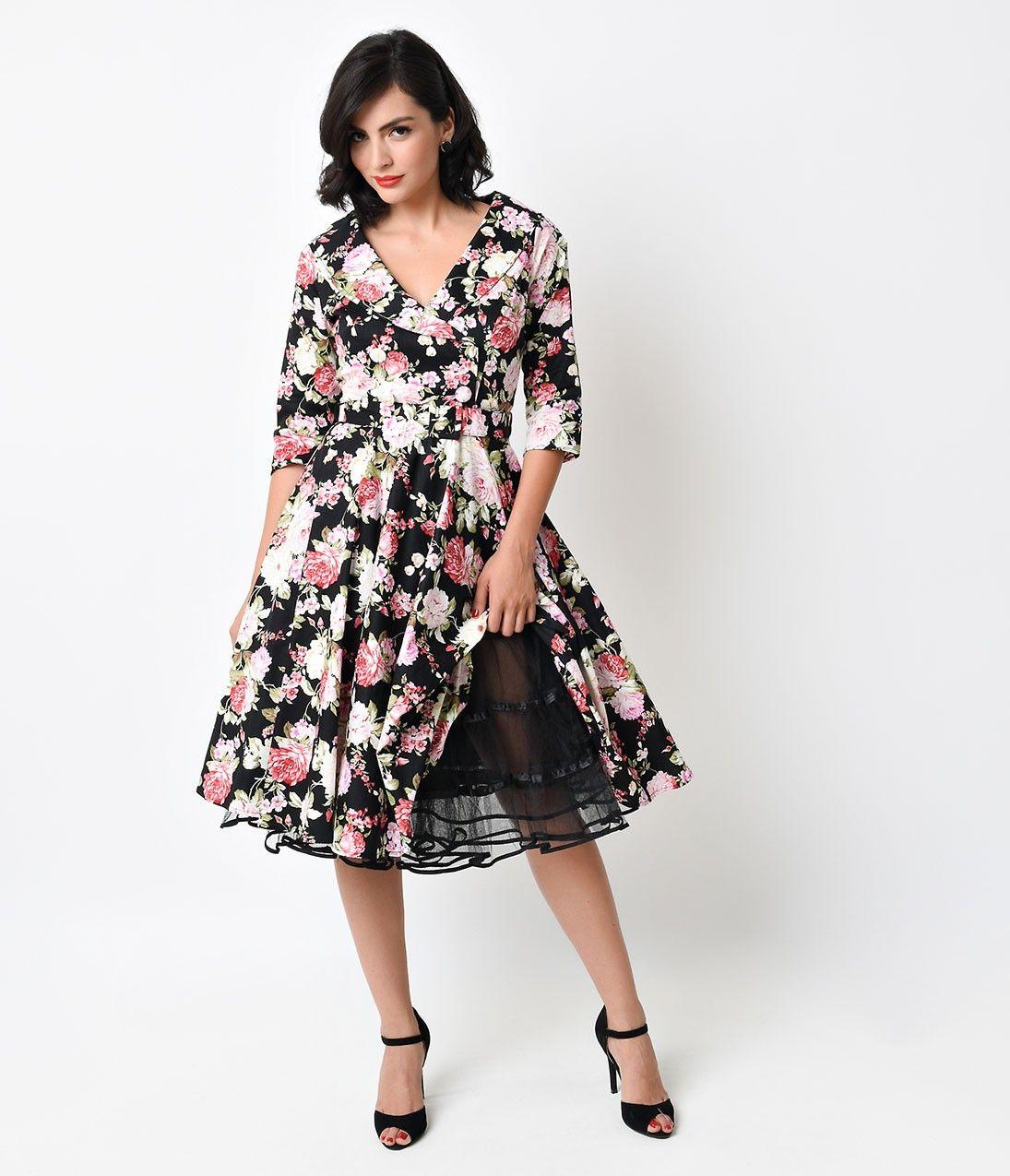 1950s Style Black Tulle Tea Length Petticoat Crinoline