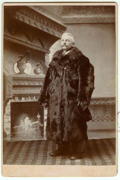 Bear Skin Coat for Sale | Man with a Bear Skin Fur Coat Cabinet