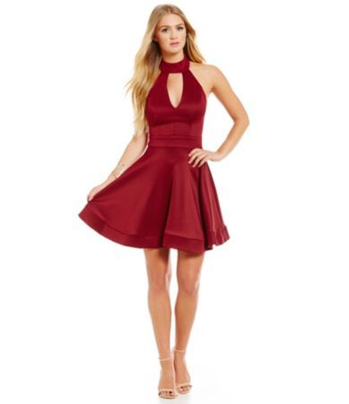 B Darlin Mock Halter Neckline Fit And Flare Dress Dillards