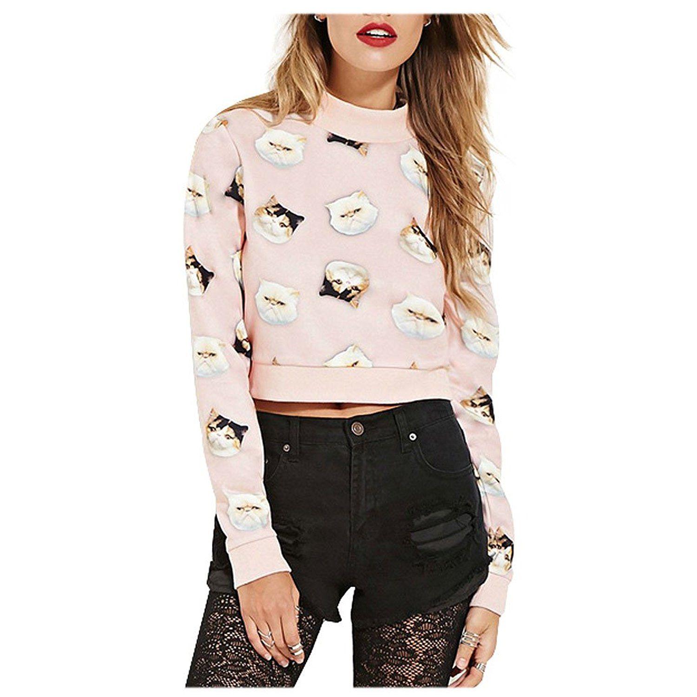 Women Pink Pastel Cute Kitten Cat Lover Pullover Crop Tops Sweatshirts This Is An Amazon Affiliate Link See This Great Produ Crop Top Sweatshirt Women Tops