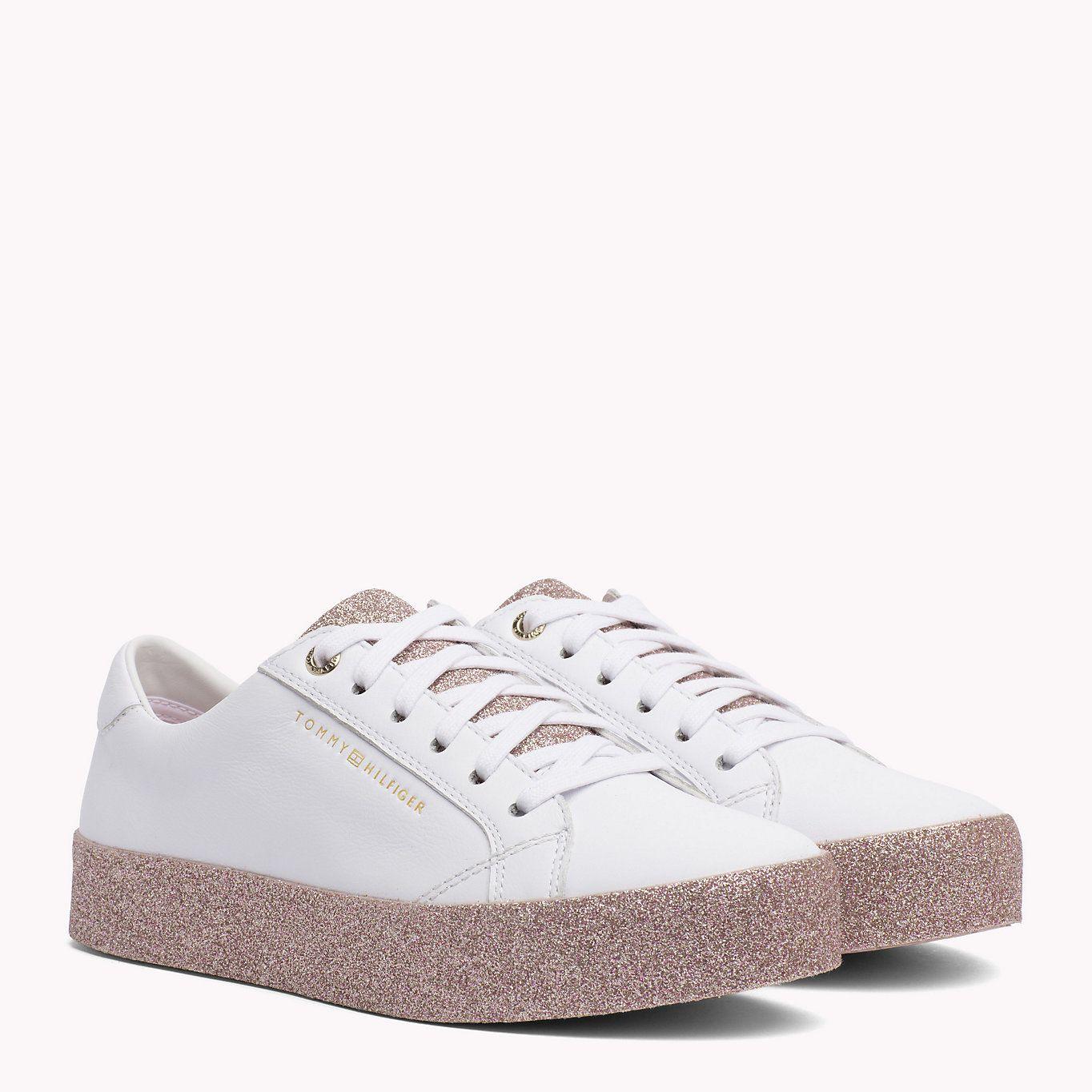 premium selection 16c85 24d3e TOMMY HILFIGER Sparkle Flatform Trainers - WHITE-PINK ...
