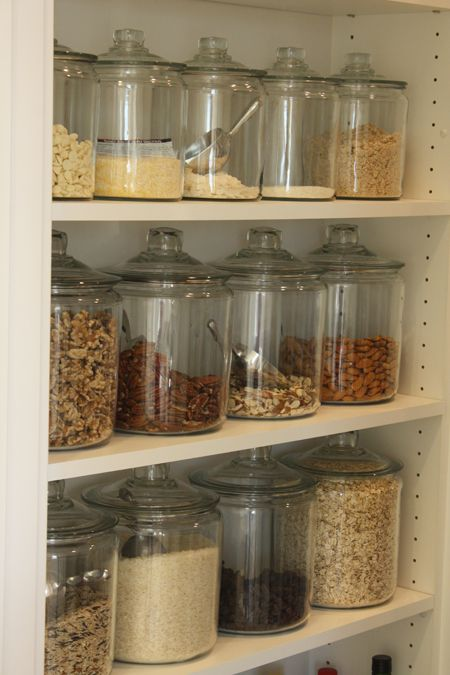 Using glass or plastic containers to store your baking goods gives a nice uniform look and it's easy to see what you have, and easily & quickly use.