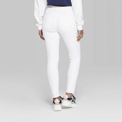 6fc7f9e2833ccd Women's High-Rise Zip Front Denim Skinny Jeans - Wild Fable Dark Wash 6  Short, White