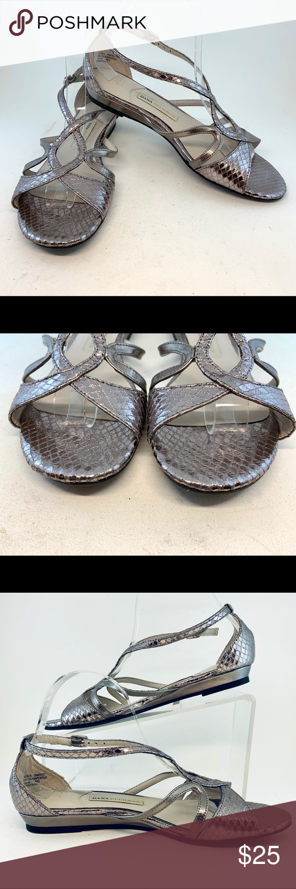 Dana Buchman Metallic Pewter Connor Sandals From a pet and smoke free home, these strappy low wedge sandals are in delightful condition: suuuuuuuper clean footbed, no scuffing, no creasing across the vamp, and light treadwear.      Man-made faux snake skin upper     Textile lining     Buckle at the ankle with elastic for a comfortable fit     Heel height: 0.75 inches Dana Buchman Shoes Sandals #lowwedgesandals