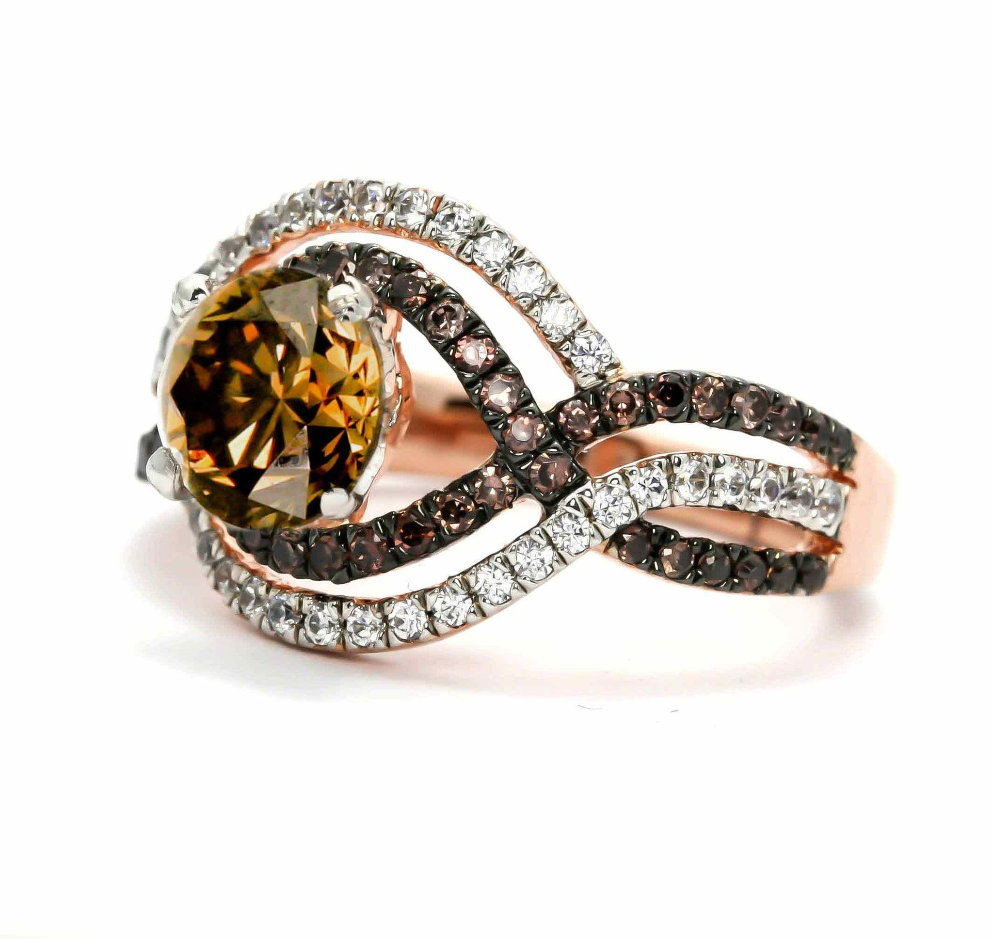 Unique Halo Infinity 1 Carat Chocolate Brown Smoky Quartz Engagement Ring  With Rose Gold, White