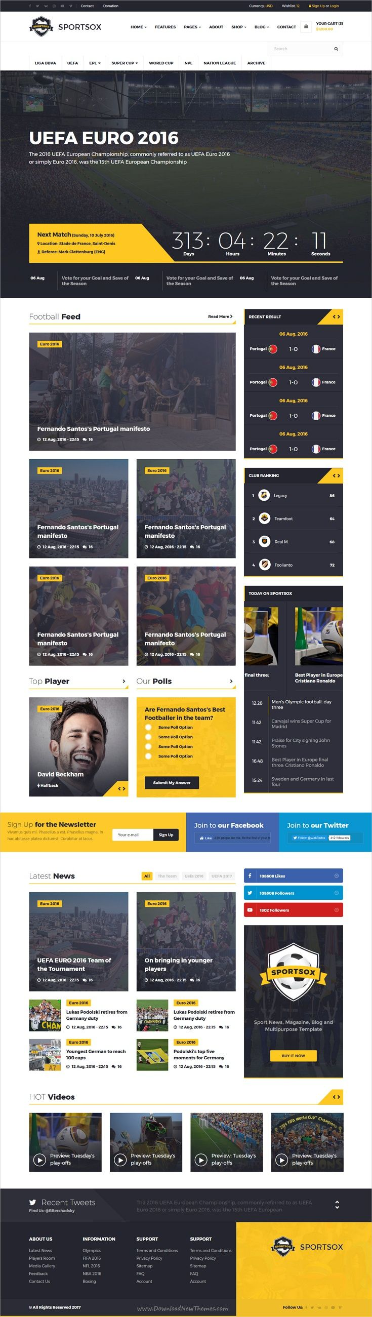 Sportsox | Sport Team Clubs HTML Template | Template, Ui design and ...