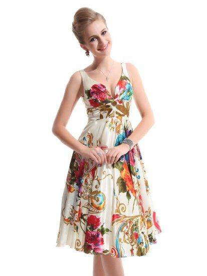 Ever Pretty Double V-neck Floral Printed Satin Short Party Dress ...