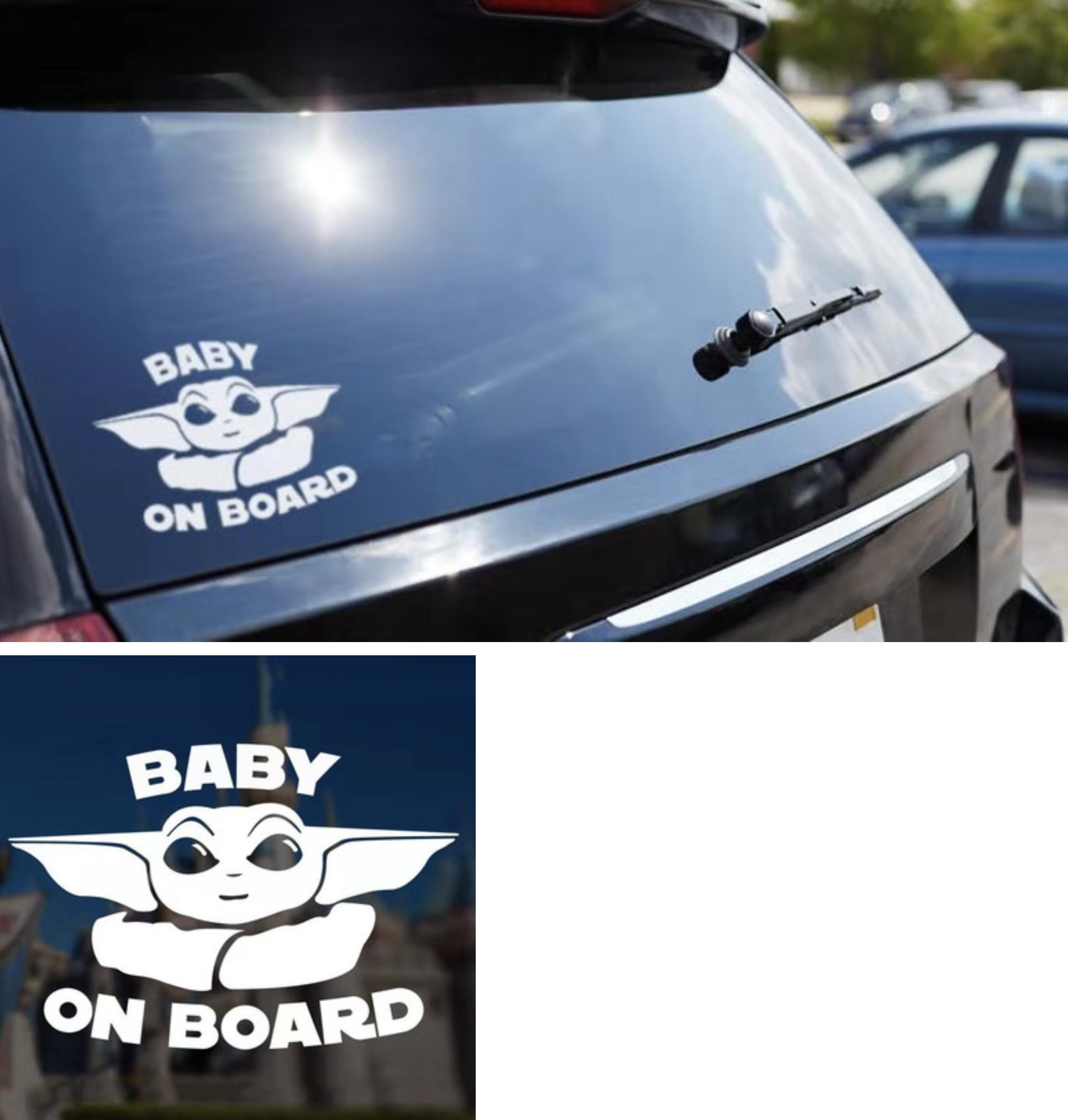 Baby Yoda On Board Car Stickers Decals Stickers Window Vinyl [ 2027 x 1933 Pixel ]