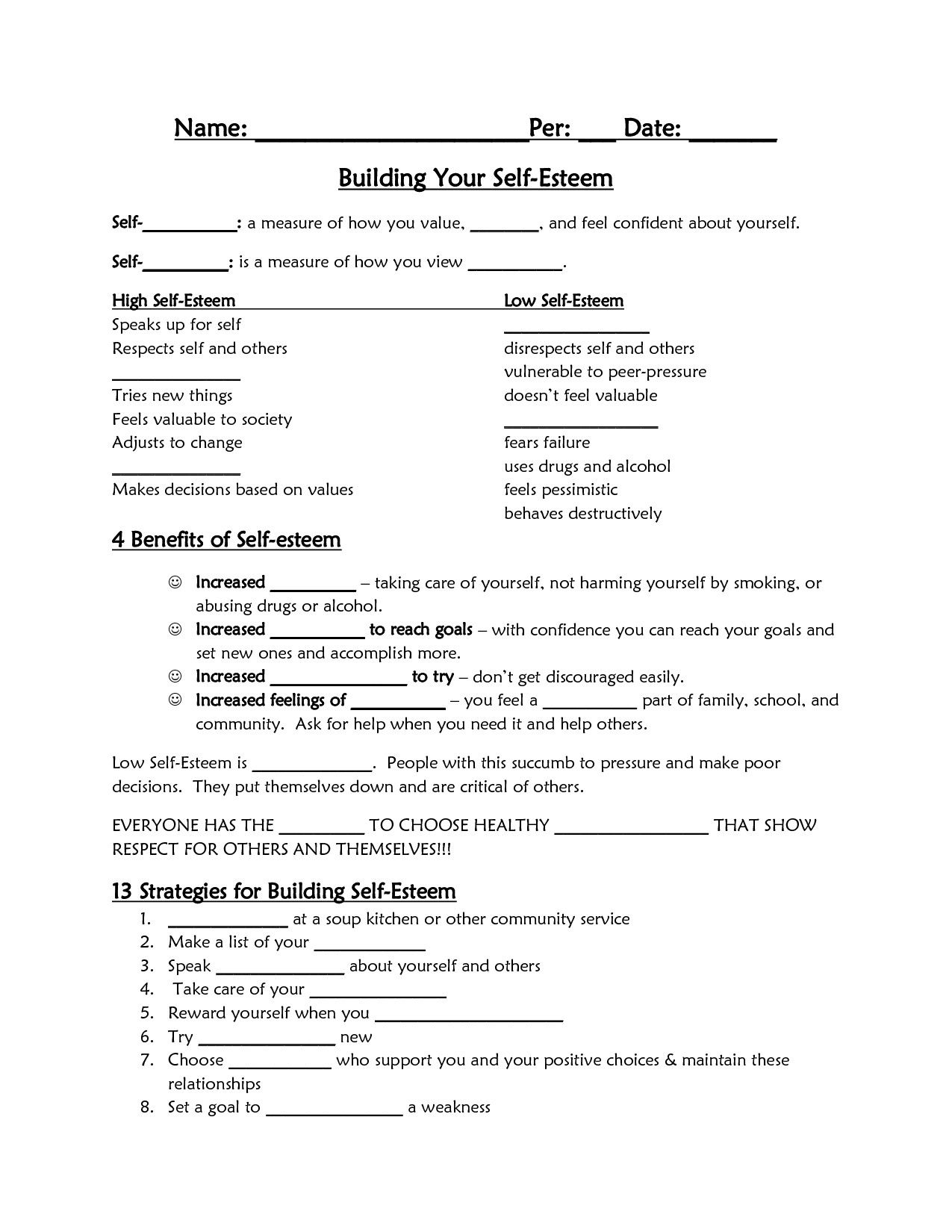 Self Esteem Printable Worksheets In