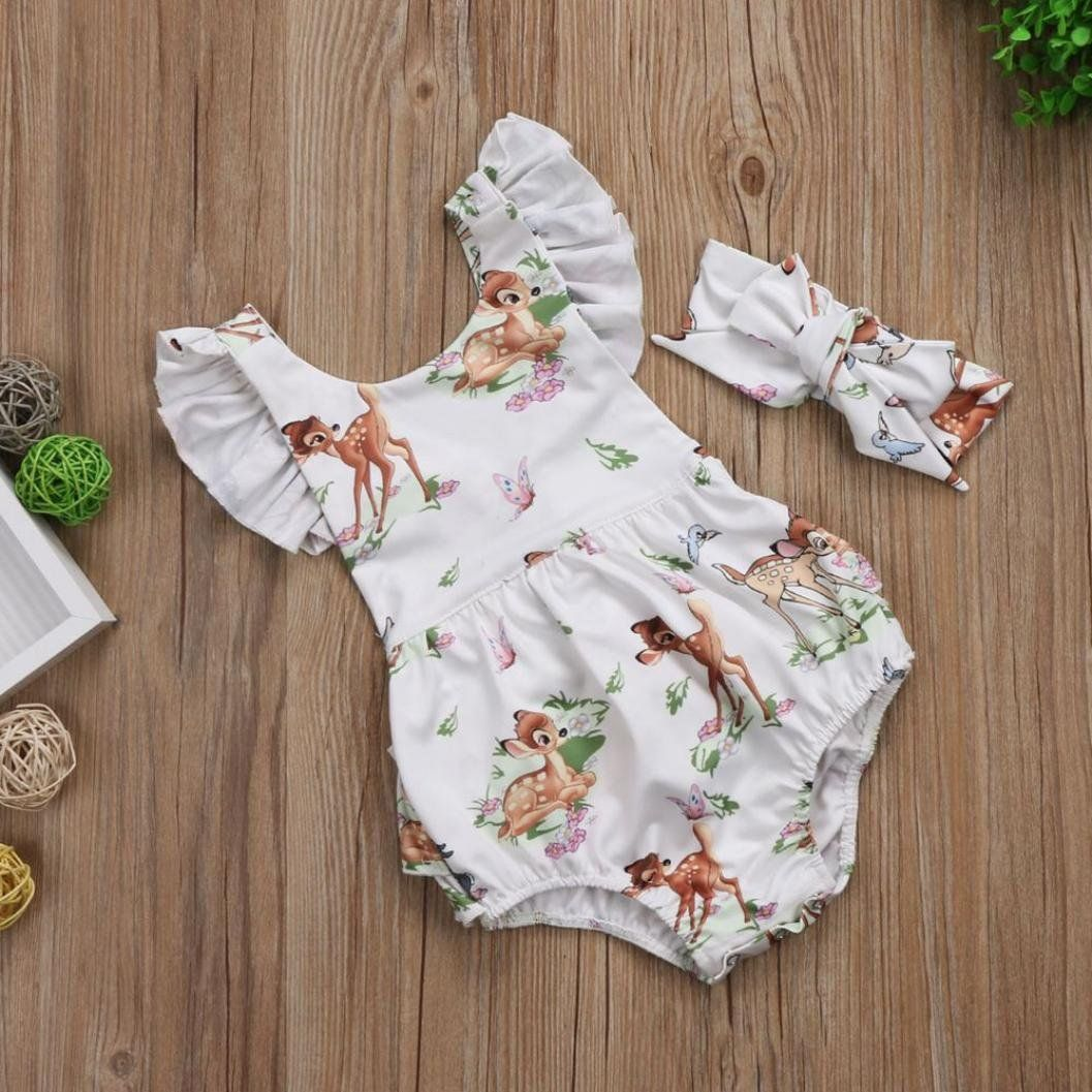 41630097515 ElevinTM2Pcs Toddler Infant Baby Girl Clothes Christmas Deer Romper Headband  Set Outfit Beige 18M -- Check out this great product.