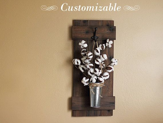 Cotton Stem Decor, Rustic Wall Decor, Wall Hanging, Wooden Wall ...