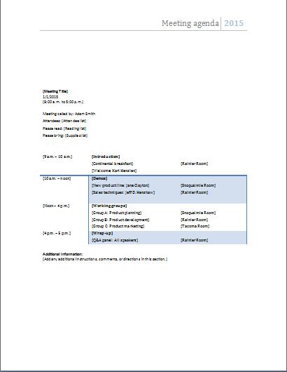 microsoft agenda templates