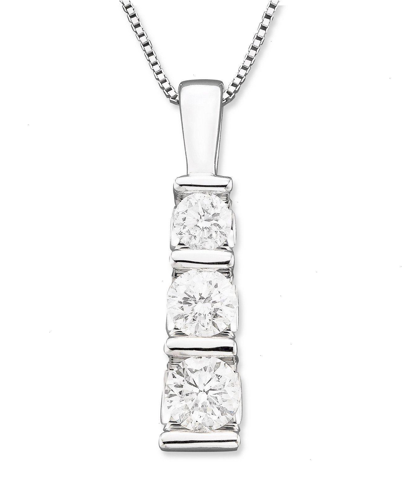 Threestone diamond pendant necklace in k white gold ct