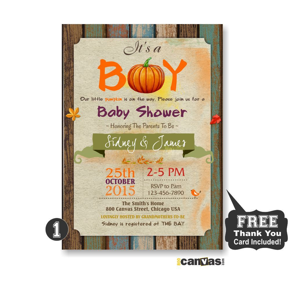 Fall Baby Shower Invitation, Little Pumpkin Shower, It\'s a Boy ...
