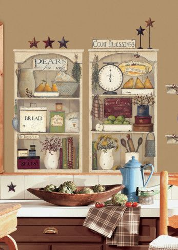 Country Kitchen Shelves Peel Stick Giant Wall Decals Wall Decal