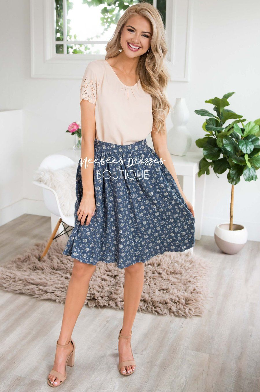 Dusty Pink Powder Blue Floral Chiffon Skirt Skirt Outfits Trendy Spring Outfits Modest Dresses