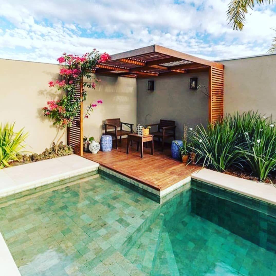 Piscina Pequena 40 Modelos E Inspirações Backyard Pool Designs Backyard Patio Patio