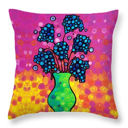"""#throwpillows #pink Colorful Flower Bouquet By Sharon Cummings Throw Pillow (14"""" x 14"""") by Sharon Cummings.  Our throw pillows are made from 100% cotton fabric and add a stylish statement to any room.  Pillows are available in sizes from 14"""" x 14"""" up to 26"""" x 26"""".  Each pillow is printed on both sides (same image) and includes a concealed zipper and removable insert (if selected) for easy cleaning."""