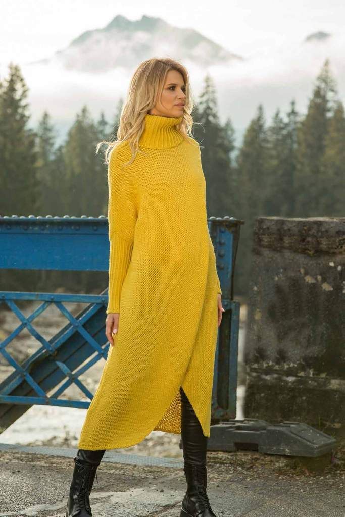 Maxi Yellow Wrapped Turtleneck Sweater