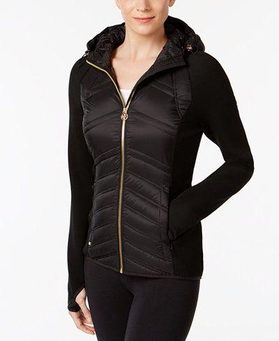 025104ec62 MICHAEL Michael Kors Hooded Knit-Sleeve Puffer Coat