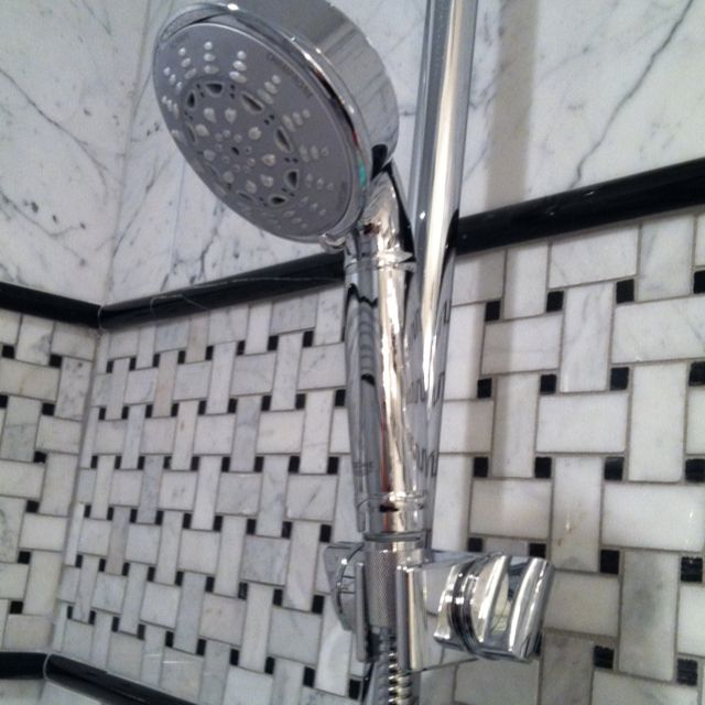 Accent Tiles For Bathroom Wall Pencil: Black And White Shower Tile. Basketweave Accent Band With