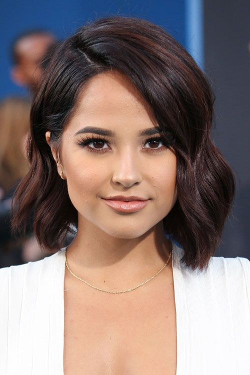 Becky G Wavy Dark Brown Angled Bob, Bob Hairstyle | Steal Her Style