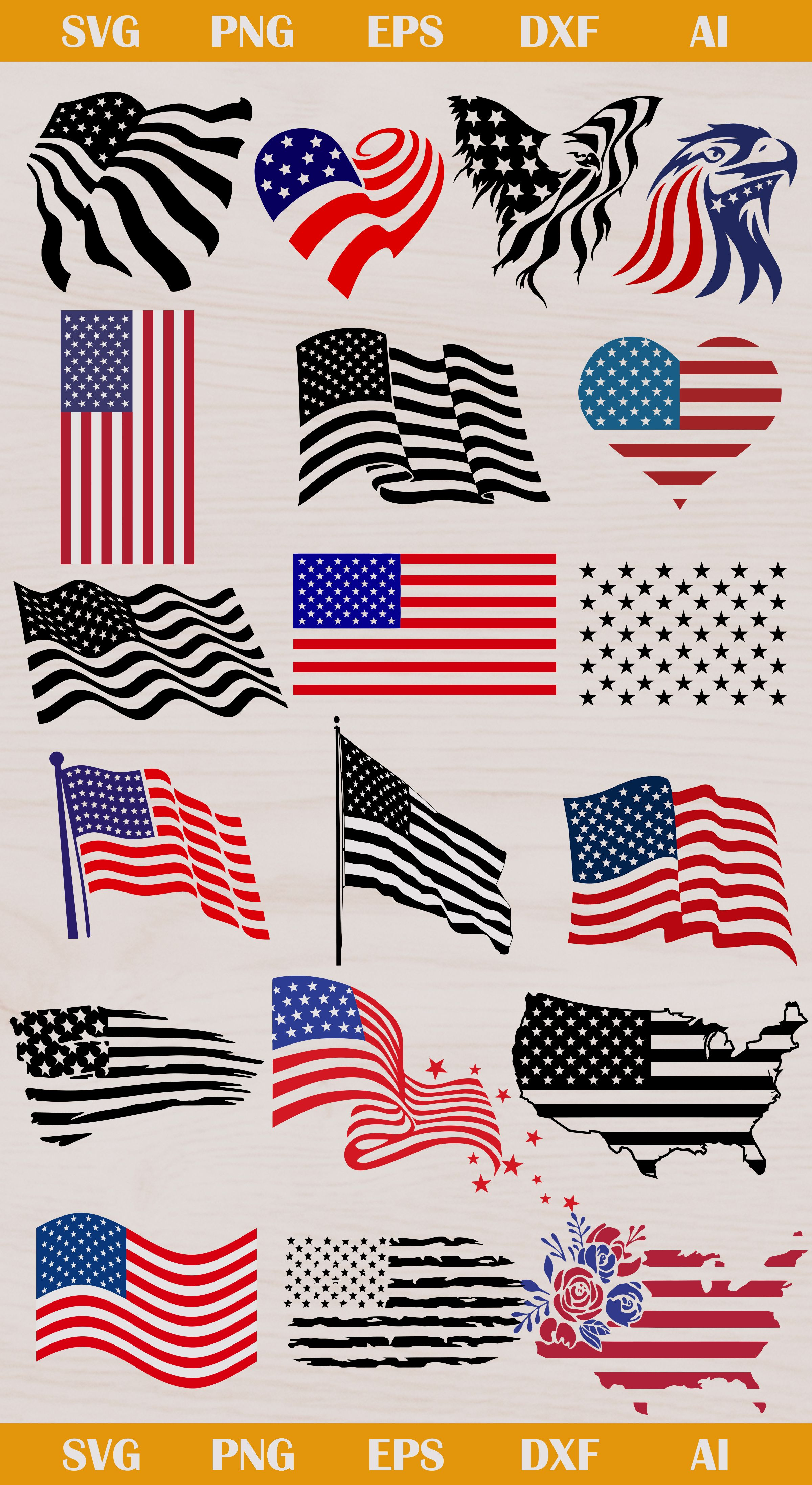 American flag svg, US flag SVG, EPS, DXF, AI, PNG
