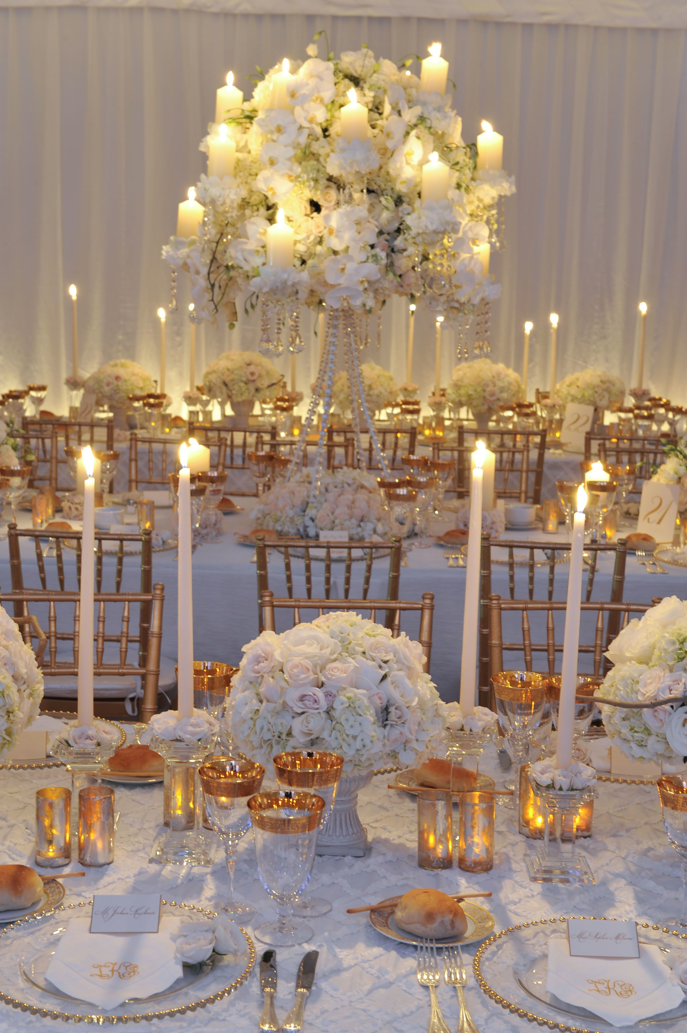 White wedding with candlelight Keywords: #weddings #
