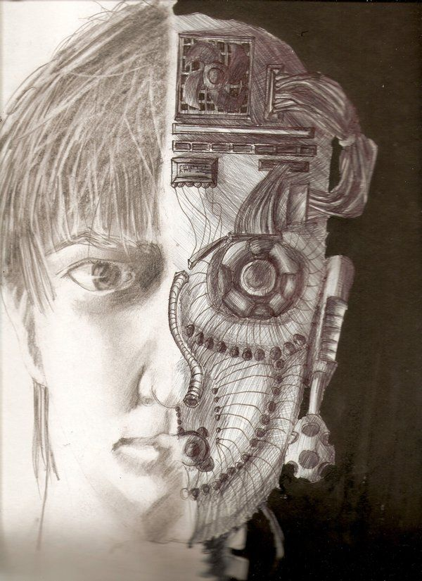 Half human-half robot drawings | 4 different sketches ...