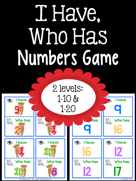 I Have Who Has Numbers Game Prekinders Numbers Preschool Number Games Preschool Math Activities Preschool