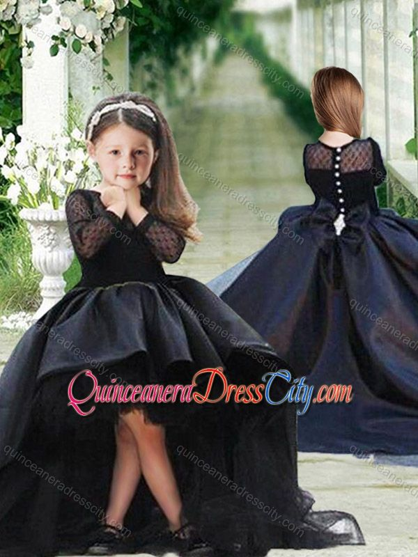 1b51a808abf Romantic See Through Long Sleeves Pageant Dresses for Kid in Navy Blue -   84.36