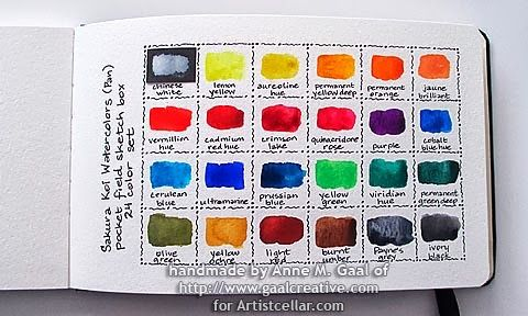 Color Chart For Koi Watercolor 24 Color Set By Anne Gaal Of Gaal