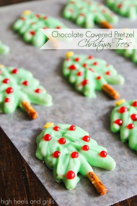 Chocolate Covered Pretzel Christmas Trees Christmas Cookies