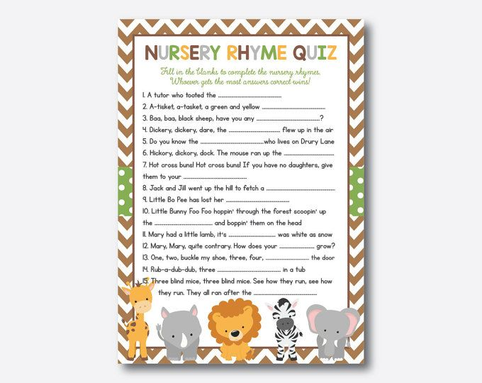 Instant Download Safari Baby Shower Nursery Rhyme Quiz Safari