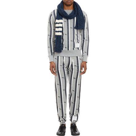 Thom Browne Stripe-Pattern Scarf at Barneys.com