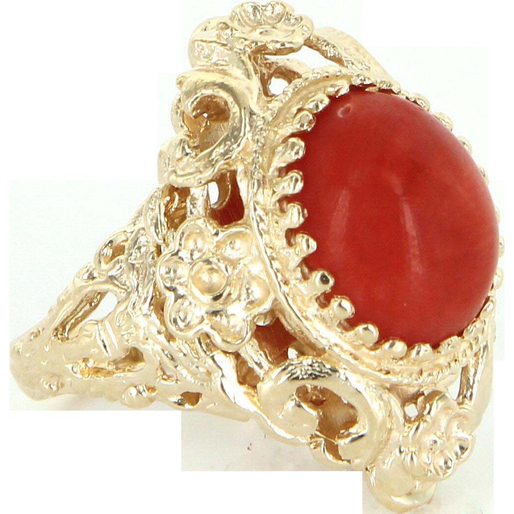 e05891933 Mediterranean Red Coral 14 Karat Yellow Gold Vintage Cocktail Ring Estate  Jewelry