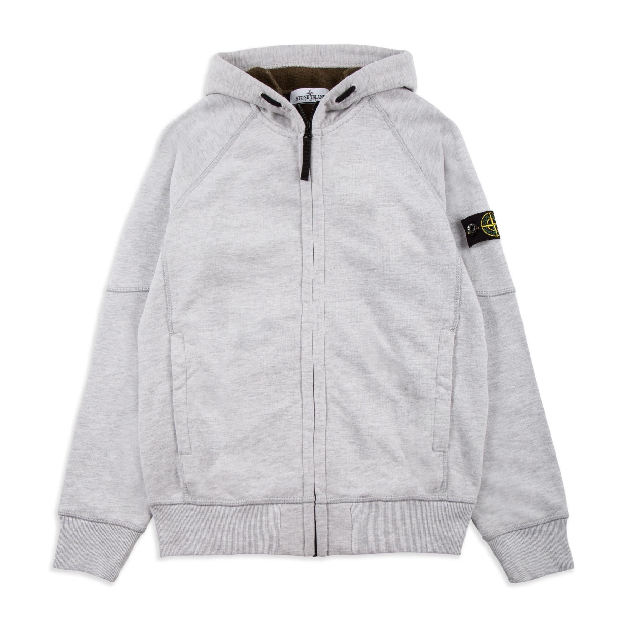 b73b39171793 STONE ISLAND JUNIOR Boys Compass Hoodie - Grey Boys hooded sweatshirt •  Soft cotton jersey • Full zip fastening • Ribbed cuffs and hem • Zipped  front ...