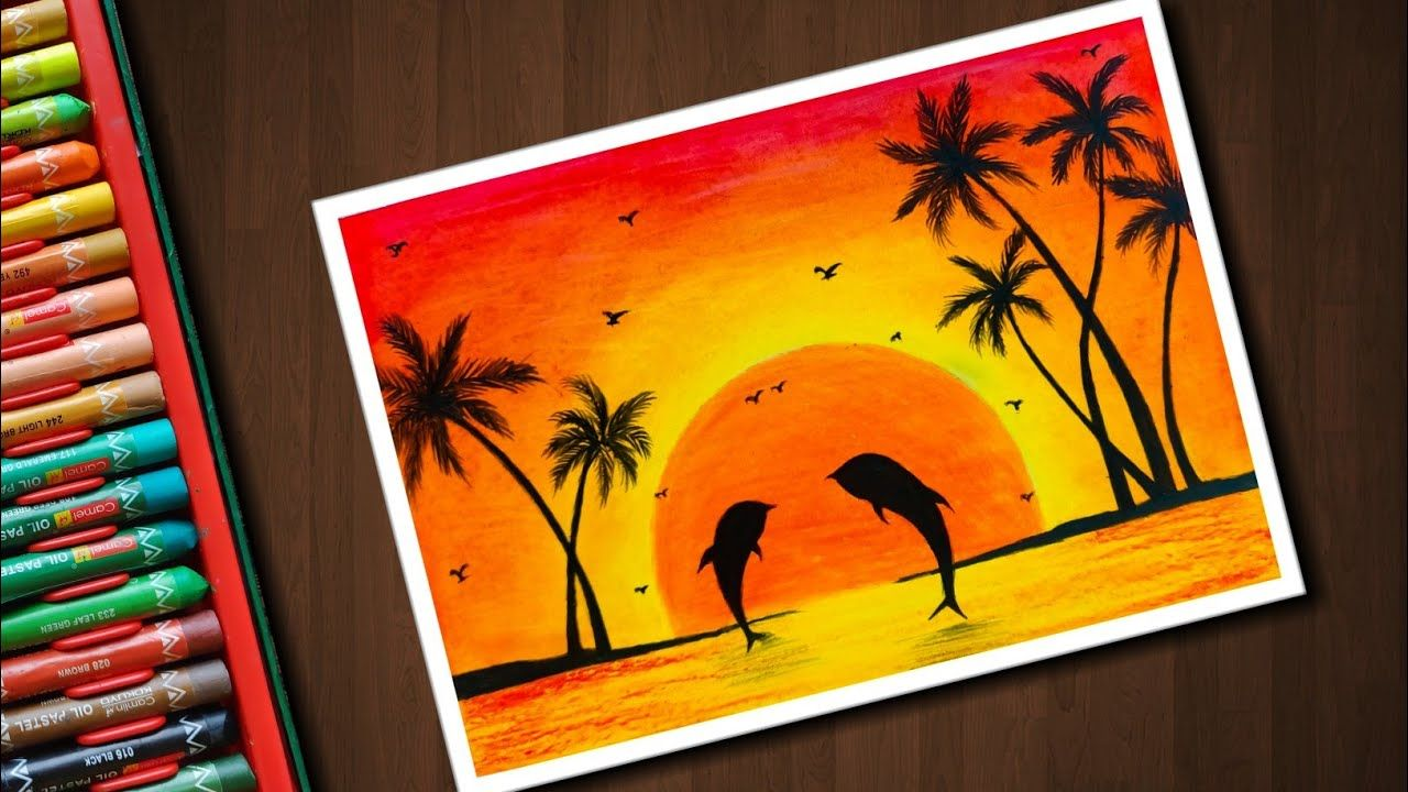 Dolphin Sunset Scenery Drawing With Oil Pastels For Beginners