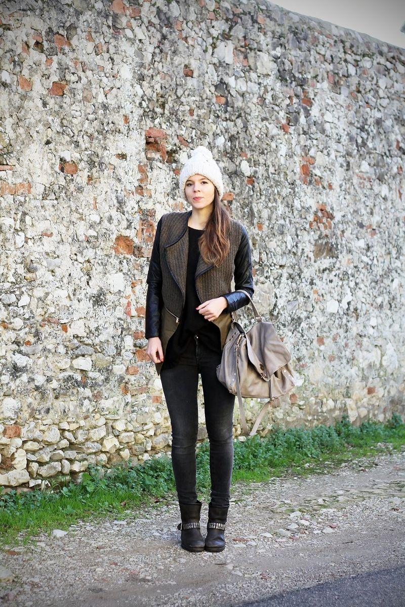 #fashion #fashionista Irene cappotto con maniche in pelle